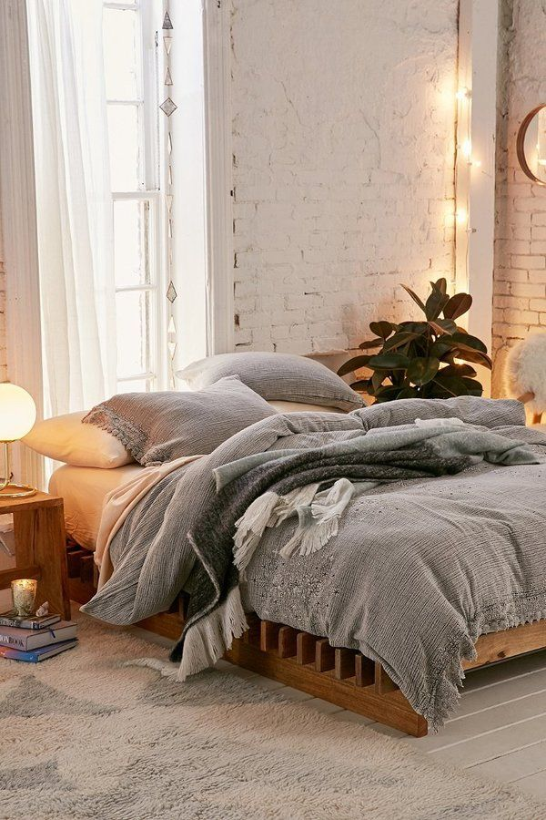 Cozy fall bedroom with grey embroidered duvet cover