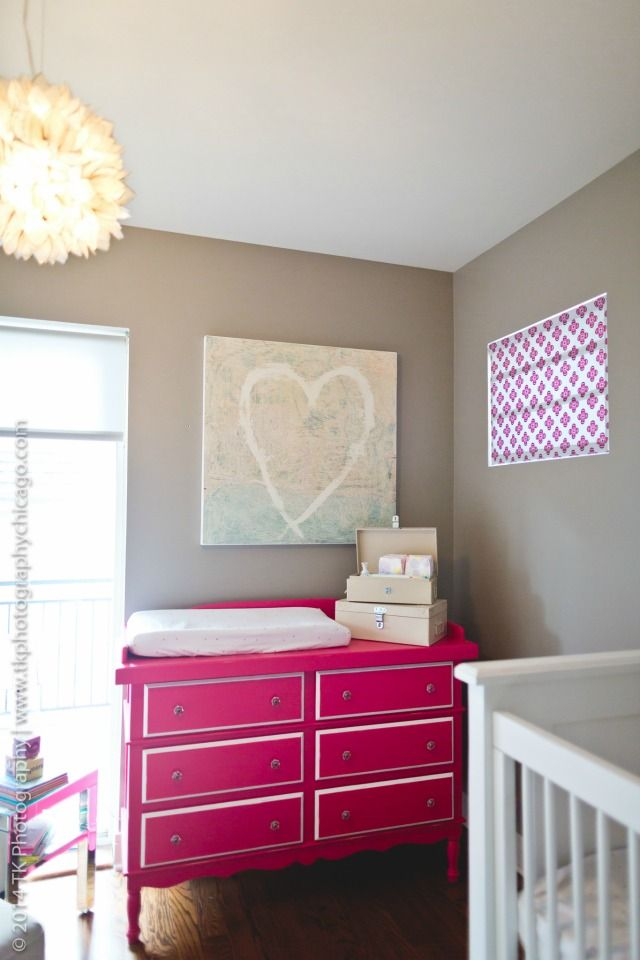 This pink Celine dresser from @Newport Cottages is so great in this mod gray nursery!: Gold Baby Nursery, Cottages Modernnursery, Dressers, Gray Nursery, Gray Nurseries