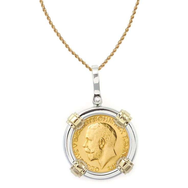 American Coin Treasures 14k Gold Sterling Silver King George V Gold Sovereign Coin Bezel Pendant Nec
