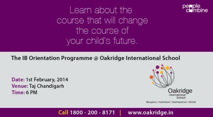 IB Orientation Programme @ Oakridge International School Learn about the coursse that will change the course of your child's future.Call 1800-200-8171