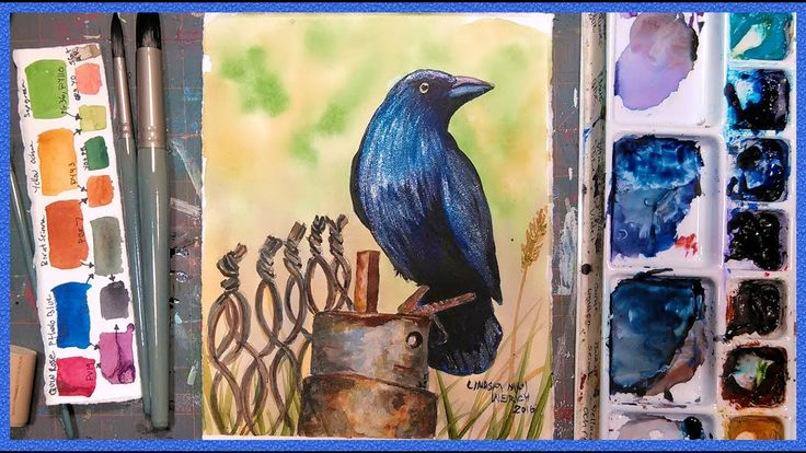 LIVE! Crow on a Fence FREE  Watercolor Tutorial 12:30pm ET!