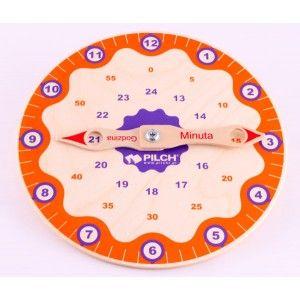 Pilch 110033 - Drewniany Zegar do Nauki Godzin z Ruchomymi wskazówkami. Zabawka dla dzieci ćwiczy pojęcie czasu