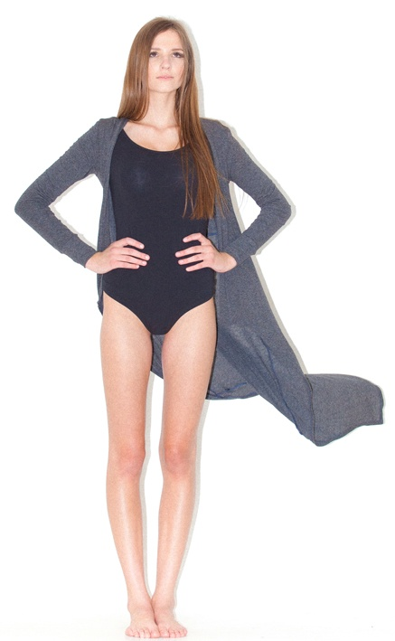 body stocking long cardi - super long length cardigan with hitch button detail at mid back to shorten as desired. Shaped front garment tapers at bottom