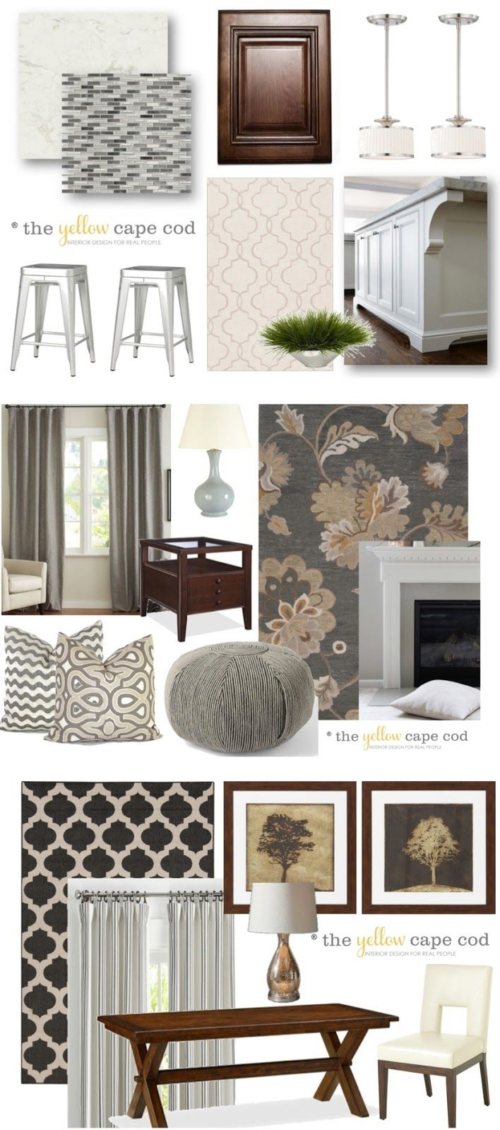 The Yellow Cape Cod Gray Tan Transitional Style Multiroom Design Part I
