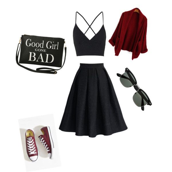 A fashion look from November 2015 featuring bralet crop top, red coat ve black knee length skirt. Browse and shop related looks.