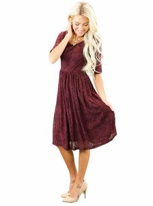 """""""Emmy"""" Modest Dress in Burgundy Lace"""