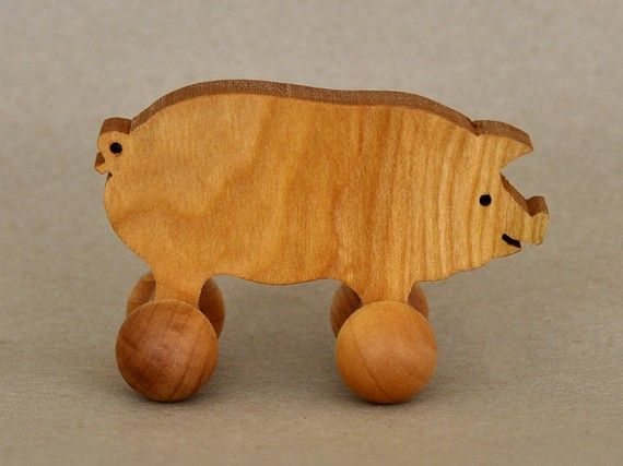 Pig Toy on Wheels Wooden Farm Animals for Children Handcrafted and Organic Party Favor for Kids Waldorf Rolling Play