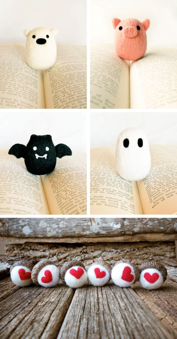 Needle felted animals.  Looks easy enough, no?  hmm..  maybe i will start what I know will be an obsession with one of these lil guys.