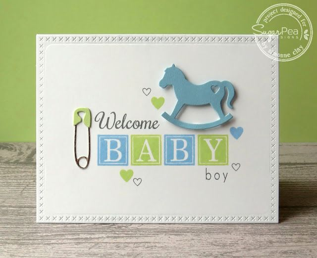SugarPea Designs: Welcome Baby Boy by Simonne Clay | handmade card, baby, baby boy, diaper pin, rocking horse, blocks, CAS