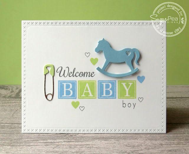 SugarPea Designs: Welcome Baby Boy by Simonne Clay   handmade card, baby, baby boy, diaper pin, rocking horse, blocks, CAS