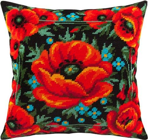 Poppies In The Field pillowcase cross-stitch DIY embroidery kit
