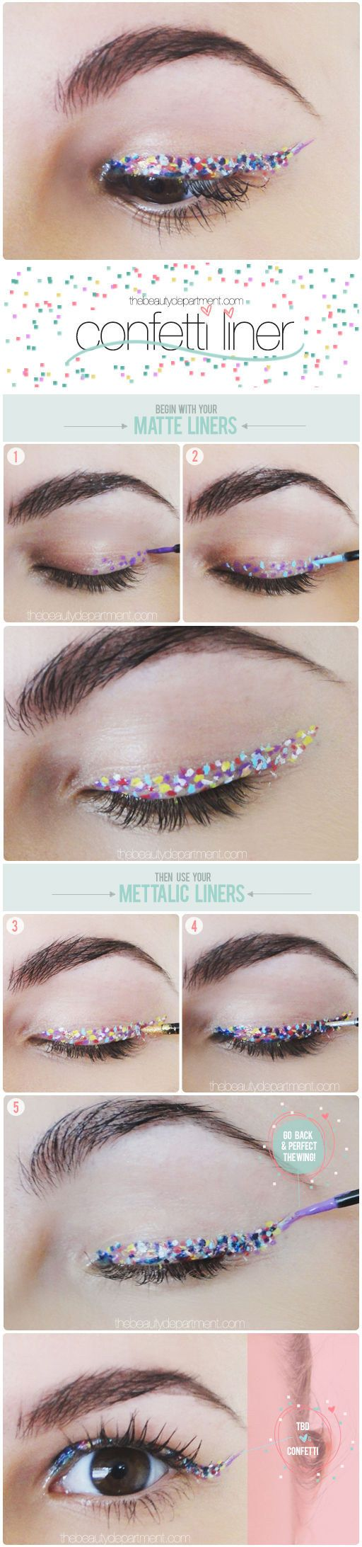 Throw an eyelid party with this confetti liner. | 17 Insanely Beautiful Makeup Looks That Aren't Just Another Smokey Eye