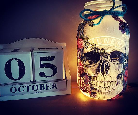 Hey, I found this really awesome Etsy listing at https://www.etsy.com/uk/listing/548948996/hand-decorated-floral-skull-kilner-jar
