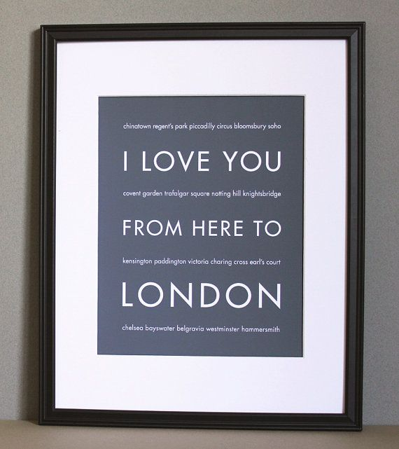 London Art Print, I Love You From Here To LONDON, 8x10, Choose Color, Unframed on Etsy, $22.46 AUD
