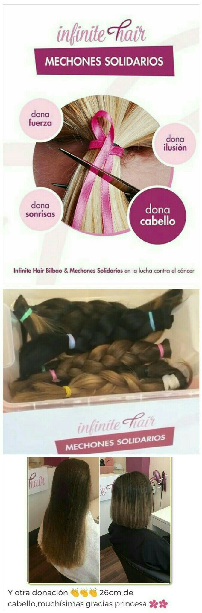 Aquí tenemos la actual campaña de mechones solidarios de la peluquería Infinite Hair de Bilbao para colaborar en la lucha contra el cáncer. De esta manera, esta peluquería obtiene mayor clientela, y el pelo cortado por ésta es donado para la causa.