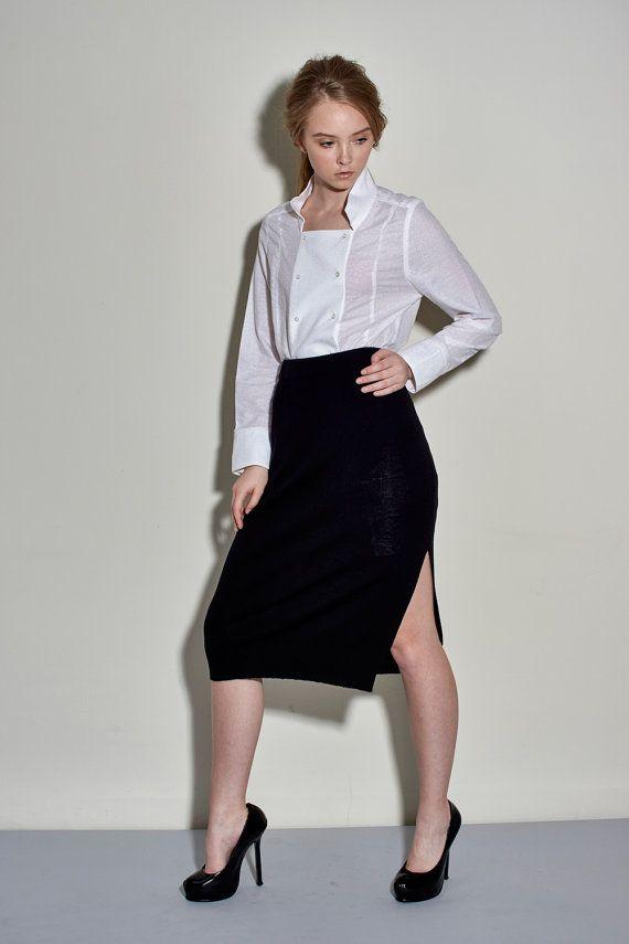 Extra Fine Merino Wool Split Skirt  Black Split by garylindesign