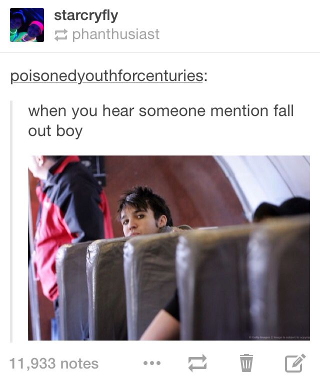 That moment when someone mentions fob at the lunch table and turns out almost everyone there is a secret emo (same)