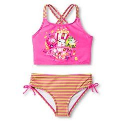 Shopkins Girls' Tankini Swimsuit - Pink for girl dolls
