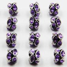 20 pcs 11mm tom de Prata Charme Rhinestone Europeu Beads Fit Pandora Charm Bracelet fazendo jóias Frete grátis HJ00272 alishoppbrasil