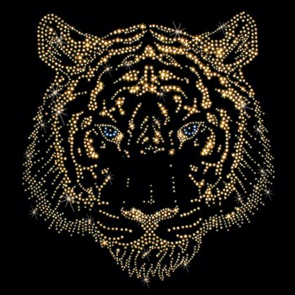 rhinestone template material wholesale - 11x12 gold tiger face stones studs stones studs