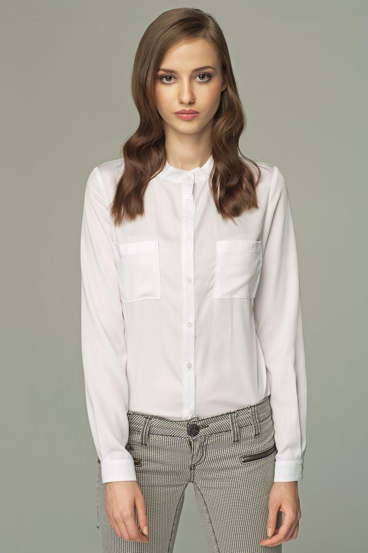MISEBLA biała bluzka z kieszonkami