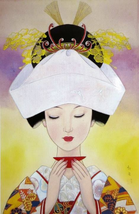 """Bride"", 1968, by Koji Fukiya ~ One of artists who made their name in the pages of girls' magazines was Shibata-born painter, illustrator and poet Koji Fukiya (蕗谷 虹児, 1898-1979), known for romantic images of fashionable young beauties. This painting of a bride in traditional wedding kimono was featured on a popular 50-yen stamp."