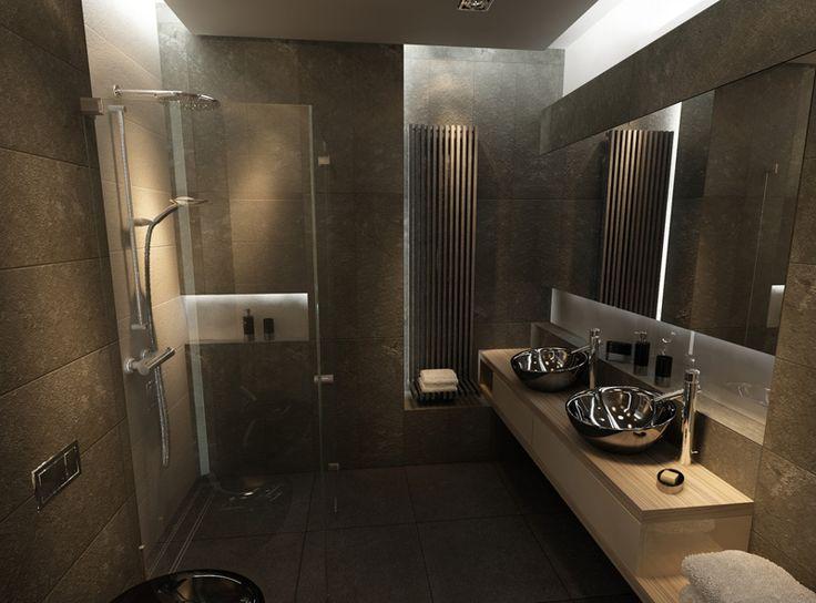 Typowo męska łazienka z zastosowaniem czarnej ceramiki cd.