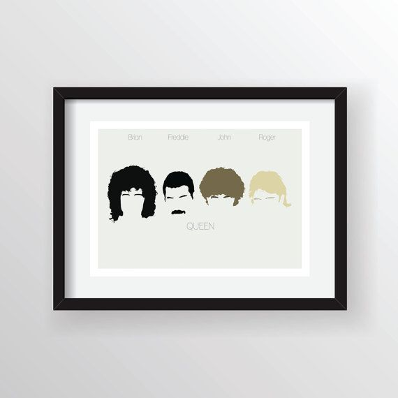 Queen (Freddie Mercury, Brian May, John Deacon, Roger Taylor)- Minimal Heads A4 Digital Art Print, Wall Poster Graphic Limited Edition of 50
