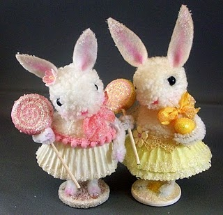 bunnies! pom poms and pipe cleaners