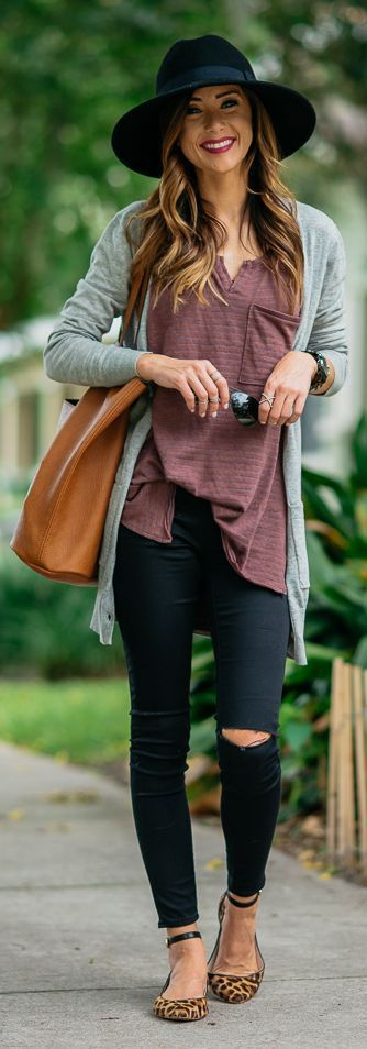 Casual street style | Animal prints flats, hat, grey cardigan and distressed pants
