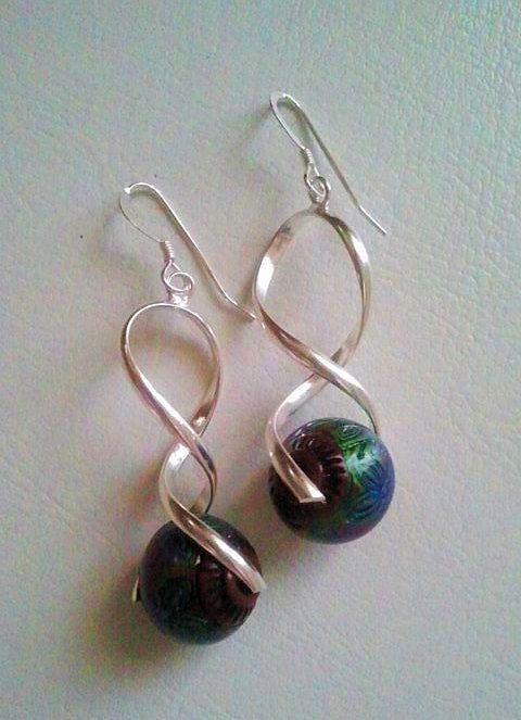 Silver Drop Earrings with Mood Bead