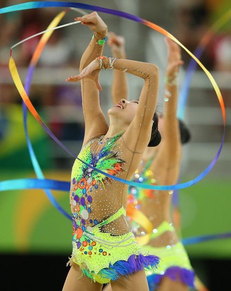 The Japan team compete in the Women's group all-around qualifying event of the Rhythmic Gymnastics at the Rio Olympic Arena during the Rio 2016 Olympic Games in Rio de Janeiro on August 20, 2016 in Rio de Janeiro, Brazil.
