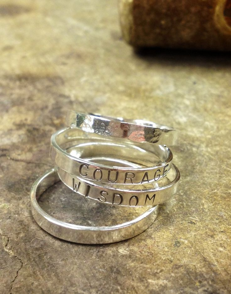 Sterling silver stamped stacking rings.