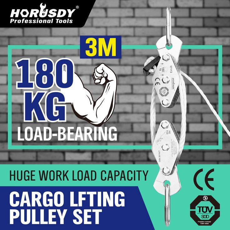 HORUSDY 180Kg Cargo Lifting Katrol Set, lier Takel Touw Katrol Blok Puller Kit