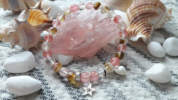 Tourmalinated Beaded Bracelet with Sterling Silver Star Charm
