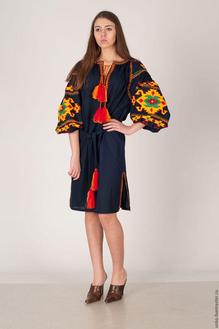 """Купить Этническое платье """"КИЛИМ"""" - черный, орнамент, яркий, лен, хлопок, шерсть, синтетика"""