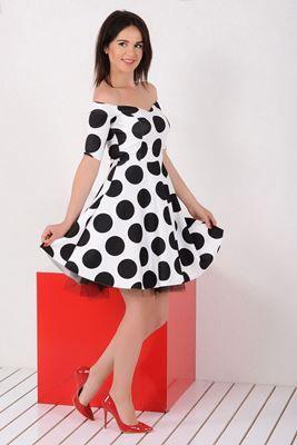 Mezuniyet ve Balo Elbise Modelleri, En Trend Düğün Nişan Abiye ve Elbiseleri En İyi Fiyatlarla! Detayları Göster Kayık Yaka Siyah Beyaz Puantiyeli Elbise