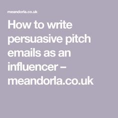 how to write an email pitch