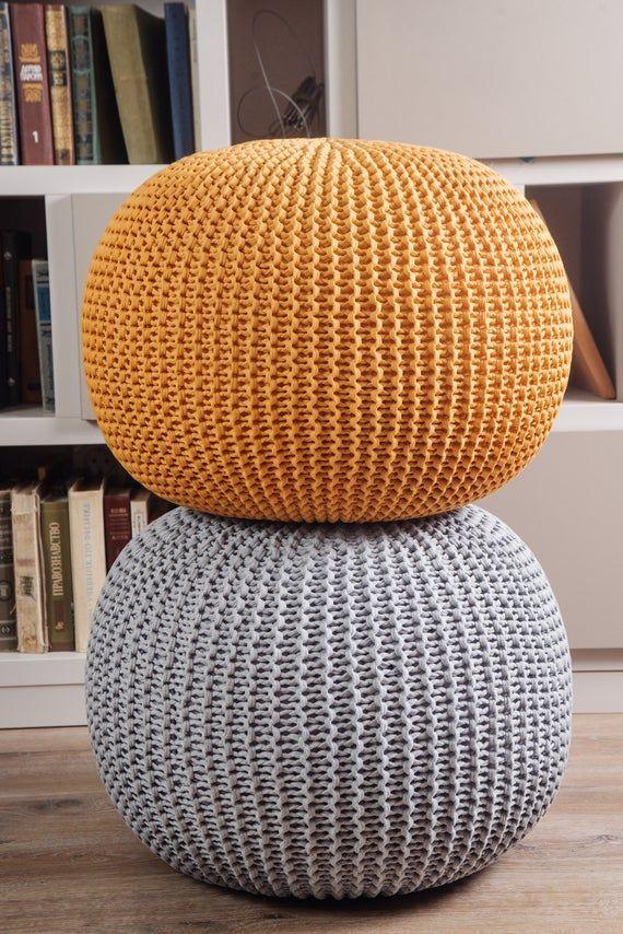 Crochet Gray Mustard Pouf Ottoman Knit Floor Pillow Knitted