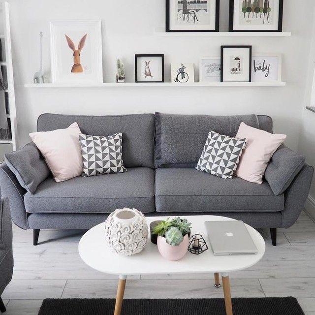 Wohnzimmer Dekor graues Sofa   #dekor #graues #wohnzimmer