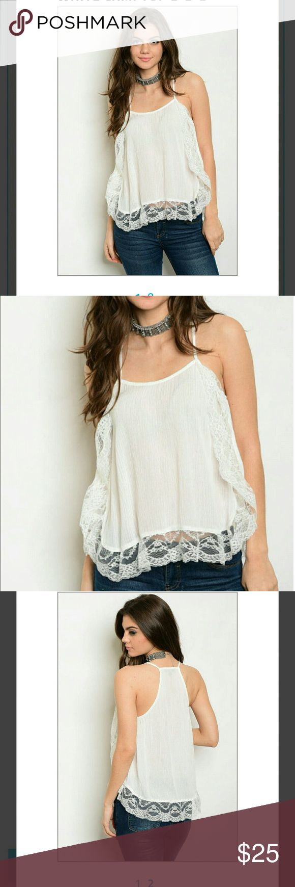 ????PreOrder???? Off White Cami Top Off White Cami Top 100% Rayon Beautiful Top Smoke Free Environment Tops