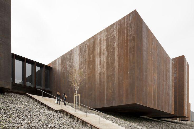 Corten Blocks, Gravel mound, Large Gestures  RCR Arquitectes - Musée Soulages, Rodez 2014. Photos (C) Kevin Dolmaire, Pep Sau. ~via SUBTILITAS.tumblr.com