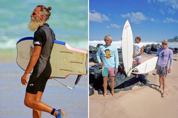 Unidentified surfer, Off The Wall, Oahu, Hawaii, 1988 (left). Simon Anderson, Tom Carroll, and Richard Cram, Oahu, Hawaii, 1984 (right).
