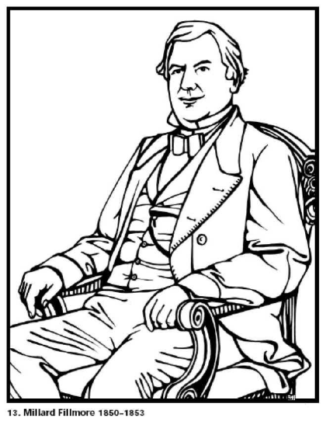 Millard Fillmore 13th President Of The United States Free Printable Coloring Sheet Click