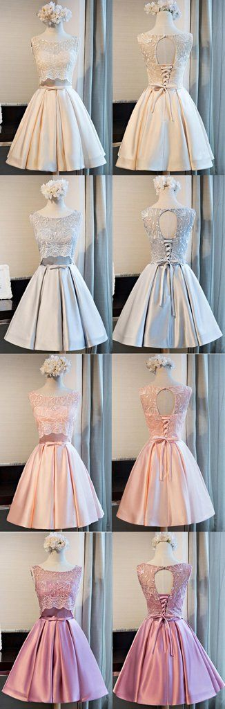 Cute Round Neck Lace Satin Open Back Lace Up Homecoming Dresses, HD059