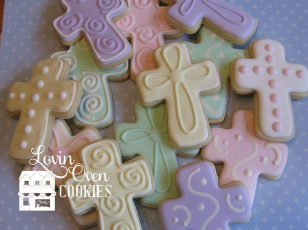 Cross Decorated Sugar Cookies, Easter - Baptism - Christening - First Communion - Confirmation, One Dozen (12 Pcs) by Lovin Oven Cookies on Gourmly