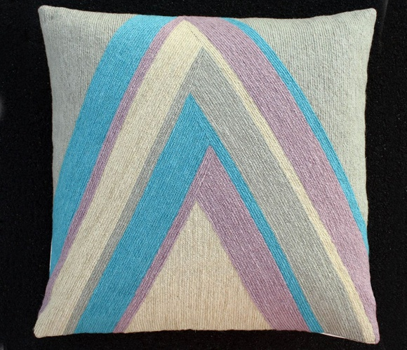 {hand embroidered 'Peak' Pillow} made in India; very unique style & fabulous colourways!: Dream, Peaks Pillows, Embroidered Pillows, House, Throw Pillows, Furniture Decoration, Design, Series Pillows, Pillows Uncovet