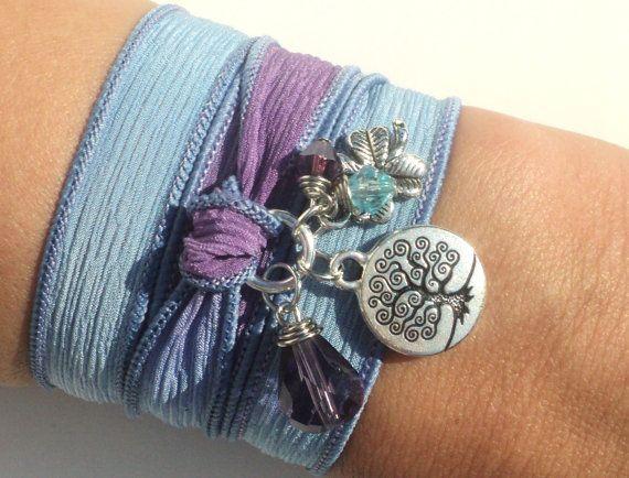 Tree of Life Silk Wrap Bracelet Hand Dyed by BohemianEarthDesigns, $27.95Life Silk, Bracelets Hands, Silk Wrap Bracelets, Silk Wraps Bracelets