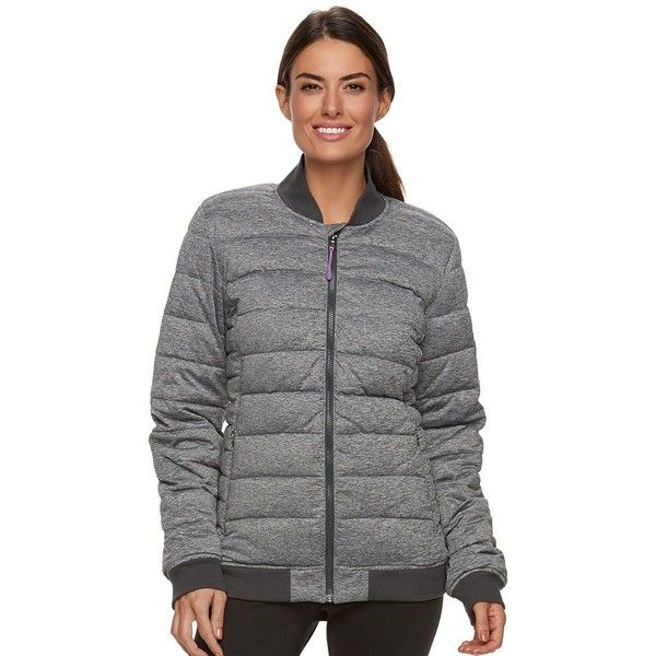 Women's Tek Gear® Zip-Front Bomber Jacket ($21) ❤ liked on Polyvore featuring outerwear, jackets, grey other, grey bomber jacket, blouson jacket, tek gear, crew jackets and gray jacket