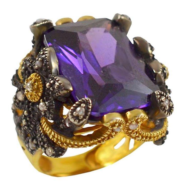 ES201- Ασημένιο επίχρυσο δαχτυλίδι με μεγάλη μωβ πέτρα